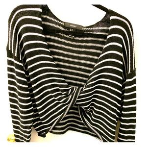 Black and White Twist Front Crop Sweater